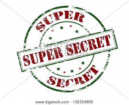 Rubber stamp with text supert secret inside vector illustration