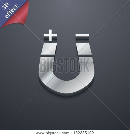 Horseshoe Magnet, Magnetism, Magnetize, Attraction Icon Symbol. 3D Style. Trendy, Modern Design With