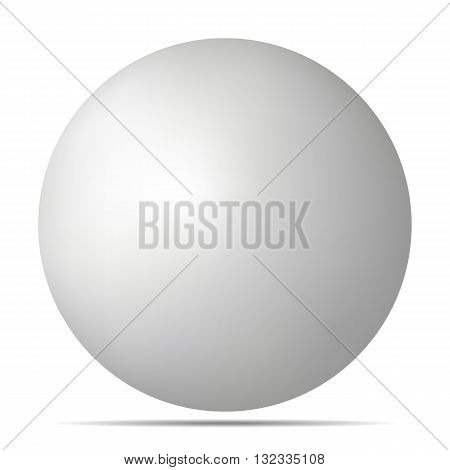 Vector white 3D sphere with realistic shadow and light for logo design concepts web presentations and prints. 3D Vector illustration on white background. Simple Template Ball for your Mock-Up Design