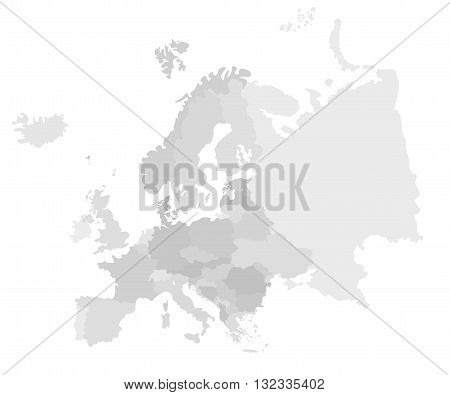 Europe modern detailed map. All european countries without names. Vector template of beautiful flat grayscale map design