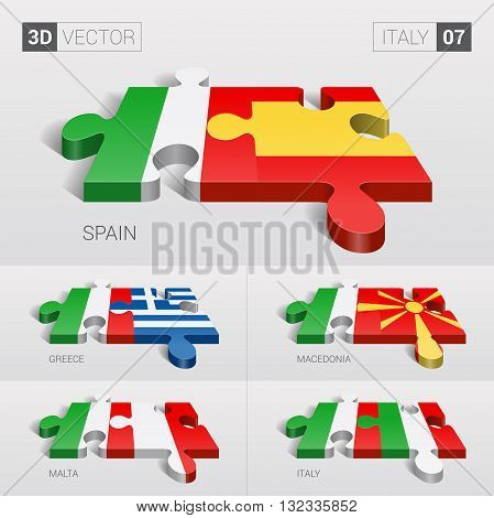Italy and Spain, Greece, Macedonia, Malta, Italy Flag. 3d vector puzzle. Set 07.