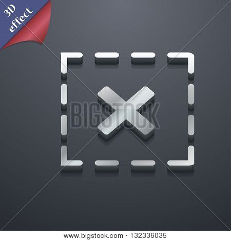 Cross In Square Icon Symbol. 3D Style. Trendy, Modern Design With Space For Your Text Vector