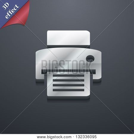 Fax, Printer Icon Symbol. 3D Style. Trendy, Modern Design With Space For Your Text Vector