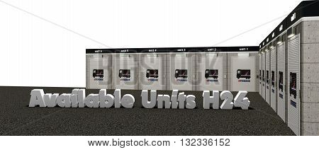 3d illustration of self storage units isolated on white background
