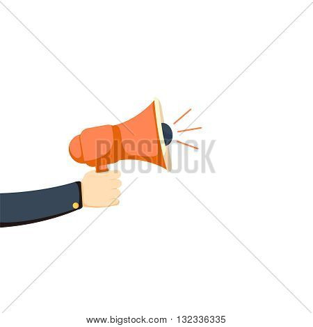 Loudspeaker in a man's hand. Alert, announcement, warning, advertising concept. Talking, shouting in loudspeaker. Loudspeaker and hand in flat style. Loudspeaker with hand vector illustration.