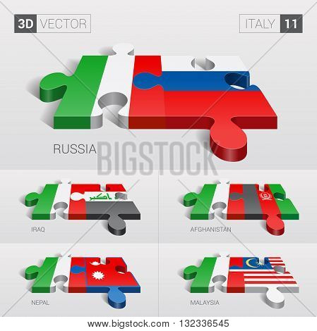 Italy and Russia, Iraq, Afghanistan, Nepal, Malaysia Flag. 3d vector puzzle. Set 11.