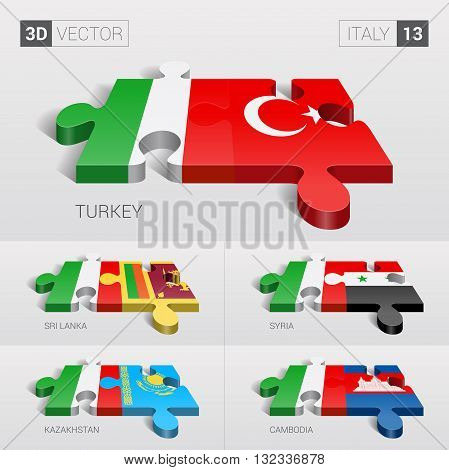 Italy and Turkey, Sri Lanka, Syria, Kazakhstan, Cambodia Flag. 3d vector puzzle. Set 13.