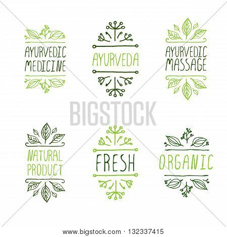 Ayurveda product labels. Suitable for ads, signboards, packaging and identity and web designs. Ayurvedic medicine, Ayurveda, Ayurvedic massage. Natural product. Fresh. Organic.