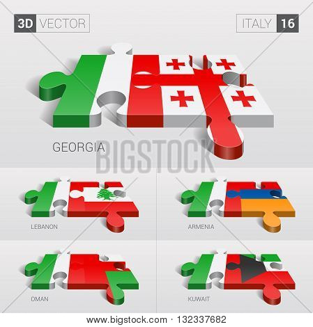 Italy and Georgia, Lebanon, Armenia, Oman, Kuwait Flag. 3d vector puzzle. Set 16.