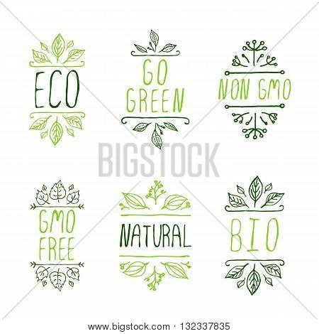 Eco product labels. Suitable for ads, signboards, packaging and identity and web designs. Eco. Go green. Non GMO. GMO free. Natural. Bio.