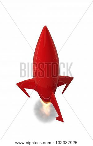 3d illustration of a space rocket isolated on white background