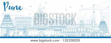 Outline Pune Skyline with Blue Buildings. Business Travel and Tourism Concept with Historic Buildings. Image for Presentation Banner Placard and Web Site.