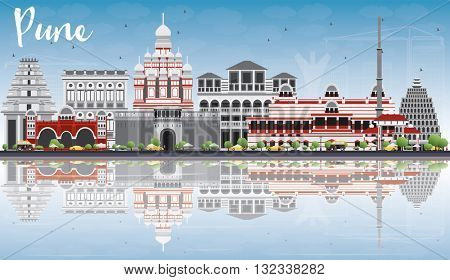 Pune Skyline with Color Buildings, Blue Sky and Reflections. Business Travel and Tourism Concept with Historic Buildings. Image for Presentation Banner Placard and Web Site.