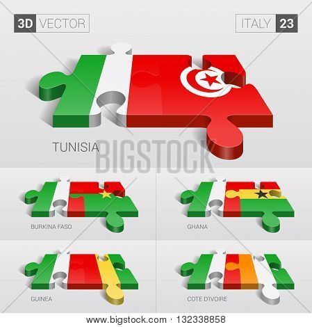 Italy and Tunisia, Burkina Faso, Ghana, Guinea, Cote d'Ivoire Flag. 3d vector puzzle. Set 23.