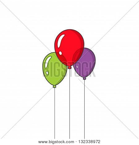 Balloons vector isolated on white background, three flat cartoon outline festive balloons flying