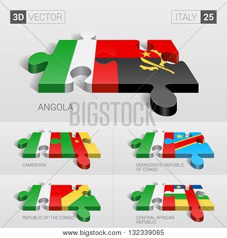 Italy and Angola, Cameroon, Democratic Republic of Congo, Republic of the Congo, Central African Republic Flag. 3d vector puzzle. Set 25.