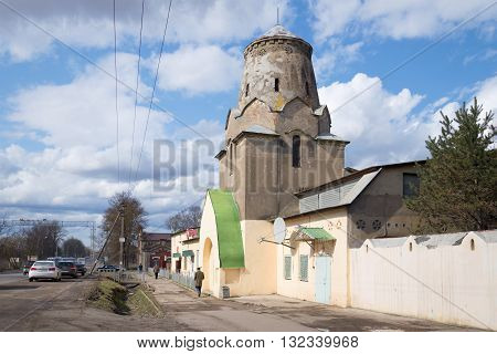 LENINGRAD REGION, RUSSIA - APRIL 24, 2016: The building is an old coaching inn with a turret, remodeled as a shop