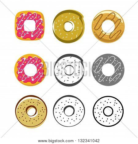 Donuts vector icons set isolated on white background, flat glazed donut, cartoon pink cream donuts, drawing donut, collection of sweet icing donuts
