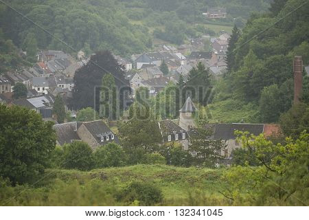 Overview of a small village in a Hill Country Nismes in Belgium