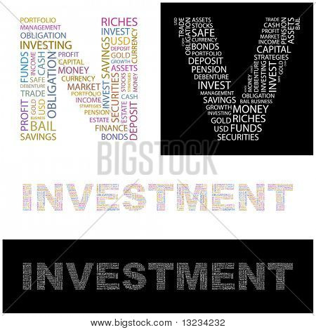 INVESTMENT. Word cloud concept illustration of  association terms.