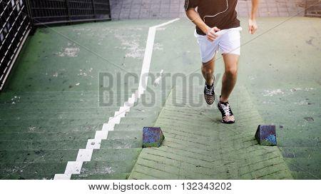 Sportsman Athlete Exercise Healthy Lifestyle Park Concept