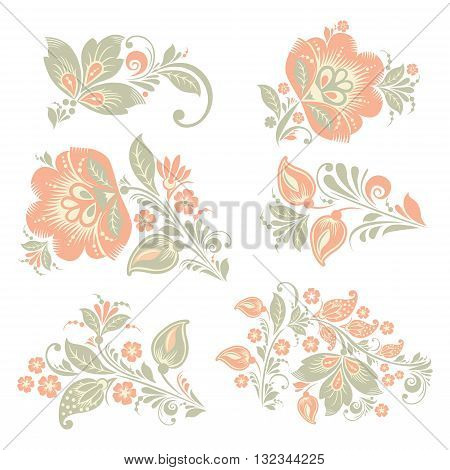 vector pastel Flower set. Romantic Floral elements set. EPS 8