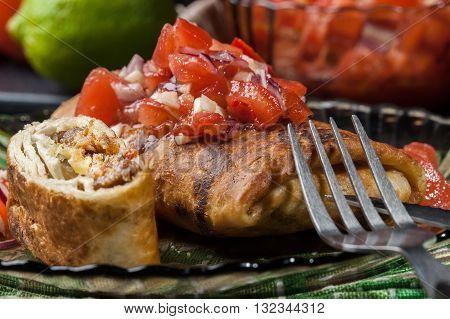 Mexican Chimichanga With Salsa Dip