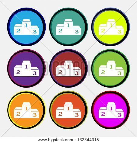 Podium Icon Sign. Nine Multi Colored Round Buttons. Vector