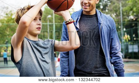 Coaching Trainer Training Shooting Practice Ball Concept