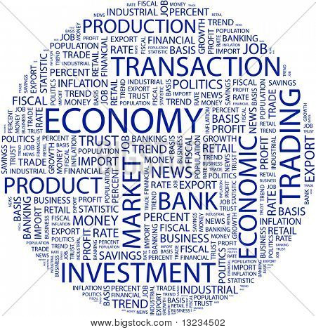 ECONOMY. Word collage on white background. Vector illustration.