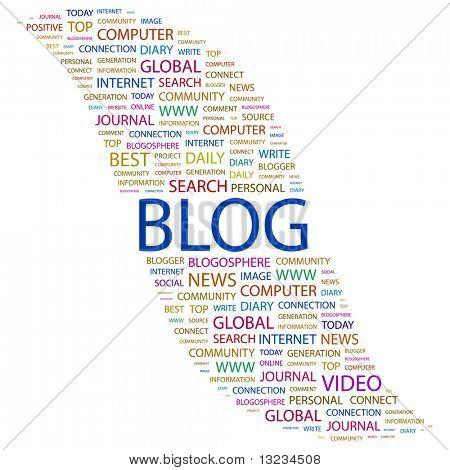 BLOG. Word collage on white background. Vector illustration.