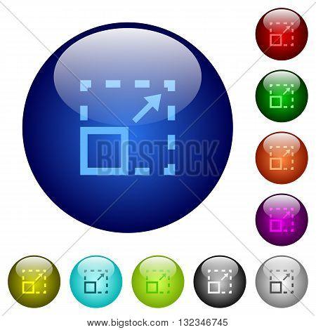 Set of color maximize element glass web buttons.