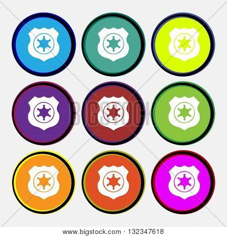 Sheriff, Star Icon Sign. Nine Multi Colored Round Buttons. Vector