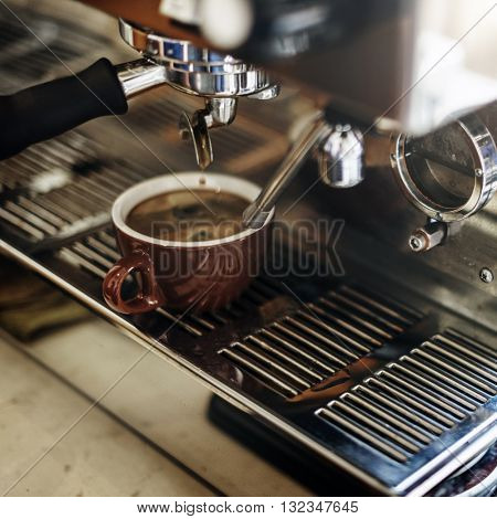 Coffee Machine Making Cup Steam Cafe Steam Concept