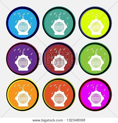 Old Analog Radio Icon Sign. Nine Multi Colored Round Buttons. Vector