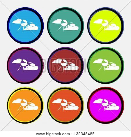 Sun Behind Cloud Icon Sign. Nine Multi Colored Round Buttons. Vector