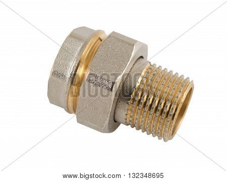 the Brass plumbing nipple on white background
