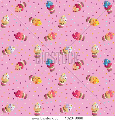 Seamless pattern with a cute appetizing cakes and candies on a pink  background