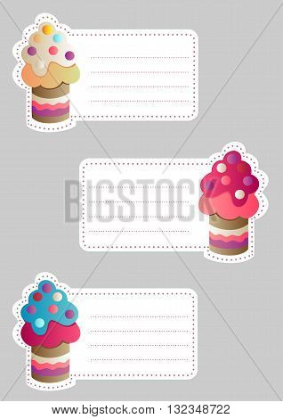 Set of three cute blank card with appetizing cakes