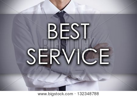 Best Service - Young Businessman With Text - Business Concept