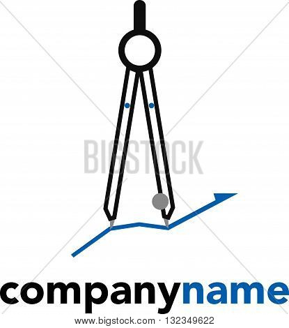 icon logo with flat design element of architecture compass