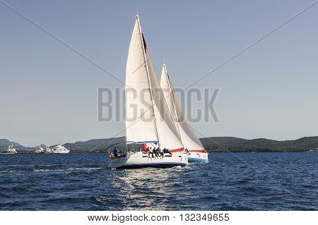 Tivat, Montenegro - 26 April, Two boats reaching one course, 26 April, 2016. Regatta