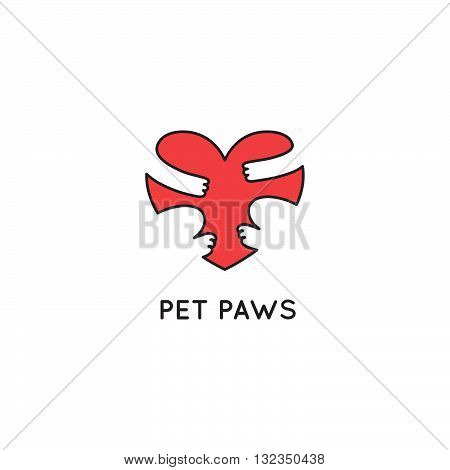 Paws Heart Hugging Vector Logo Shape. Template Love Pets Icon. Cute Symbol Design for Vet Clinics, Animal Shelters and Pet Shops.