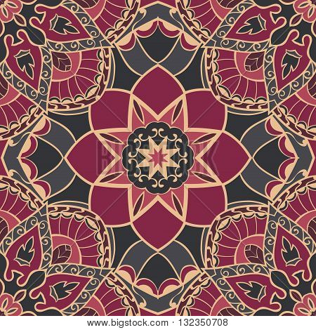 Oriental seamless pattern of mandalas. Vector burgundy background. Template for textile carpet wallpaper stained glass shawls.