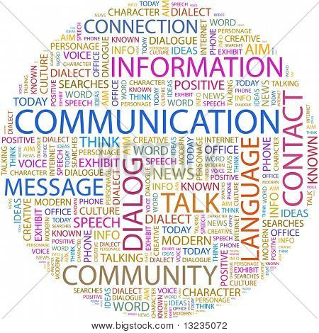 COMMUNICATION. Word collage on white background. Illustration with different association terms.