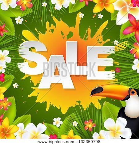 Sale Banner With Frangipani, With Gradient Mesh, Vector Illustration