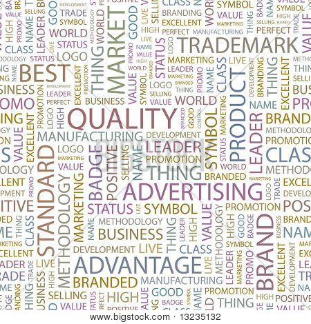 QUALITY. Seamless vector background. Wordcloud illustration.