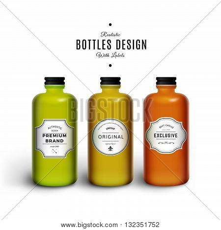 Realistic Colorful Vector Bottles with Vintage Labels. Product Packaging Design. Plastic Container Mock Up.