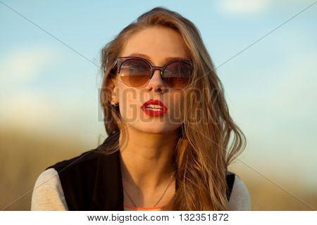 Beautiful, stunning girl with brown sunglasses, modern, gorgeous girl.