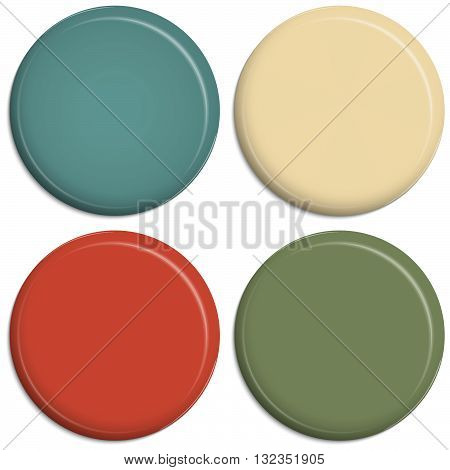 four magnetic refrigerator buttons in different colors